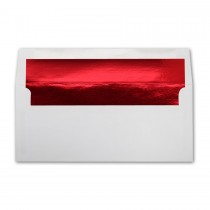 White Wove #10 Square Flap Red Foil Lined Envelope
