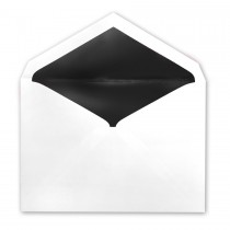 White Tiffany Pointed Flap Inner Ungummed Envelope With Glossy Black Lining
